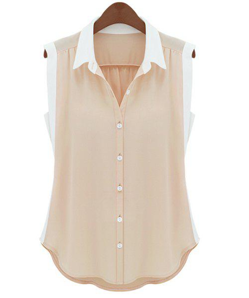 Trendy Style Turn-Down Collar Sleeveless Color Block Chiffon Women's Shirt - NUDE L
