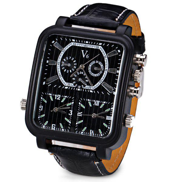 V6 Cool Three Movt Quartz Watch with Analog Indicate Leather Watch Band for Men - BLACK