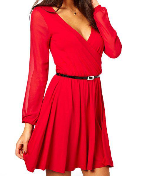 Sexy V-Neck Solid Color Long Sleeve Women's Dress - RED ONE SIZE