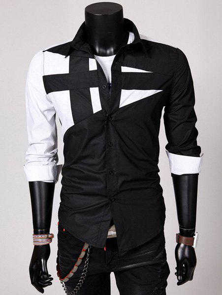 Fashion Hit Color Irregular Splicing Shirt Collar Long Sleeve Slimming Polyester Shirt For Men - BLACK XL