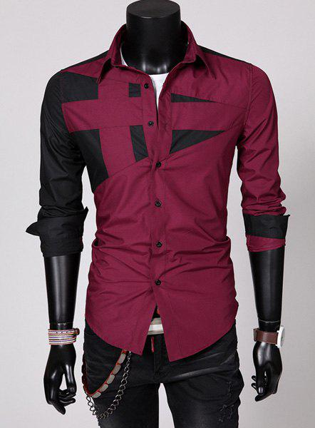Fashion Hit Color Irregular Splicing Shirt Collar Long Sleeve Slimming Polyester Shirt For Men - RED L