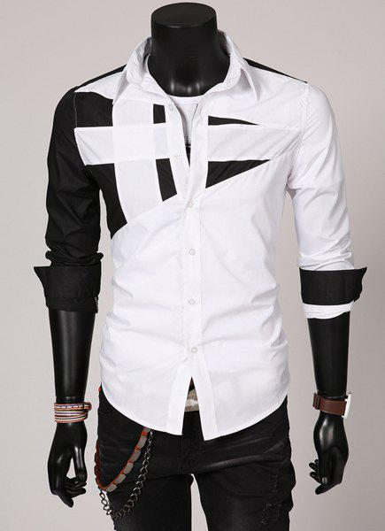 Fashion Hit Color Irregular Splicing Shirt Collar Long Sleeve Slimming Polyester Shirt For Men - WHITE XL