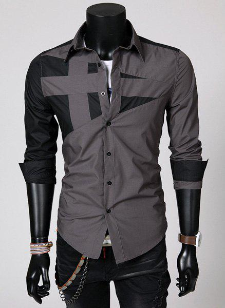 Fashion Hit Color Irregular Splicing Shirt Collar Long Sleeve Slimming Polyester Shirt For Men - GRAY M