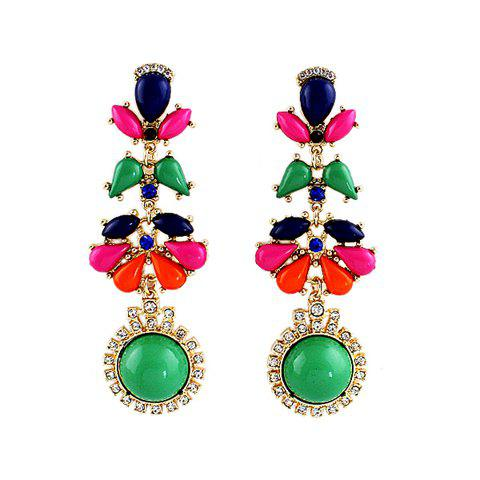 Pair of Exquisite Colorful Faux Gem & Rhinestone Embellished Flower Pattern Pendant Earrings For Women