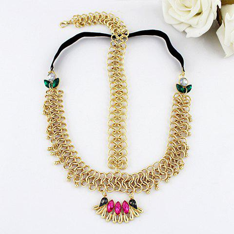 Vintage Colorful Faux Gem Decorated Openwork Hairband For Women - PLATINUM