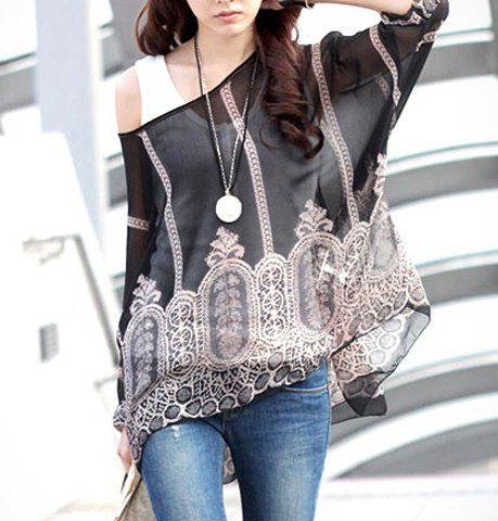Stylish Scoop Neck Printed 3/4 Sleeve Chiffon Blouse For Women
