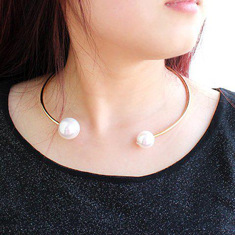 Delicate Faux Pearl Embellished Cuff Necklace For Women - AS THE PICTURE
