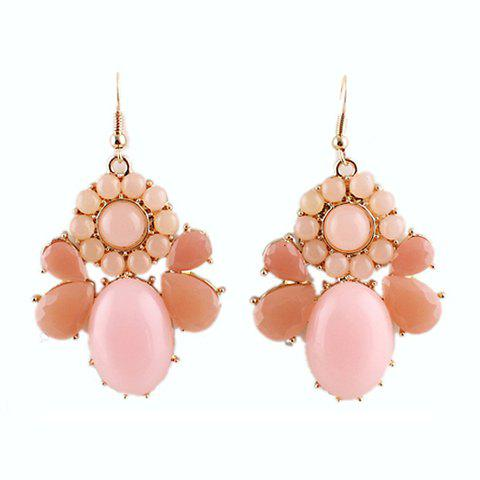 Pair of Exquisite Candy Color Semi-Precious Stone Embellished Geometric Drop Earrings For Women - PINK