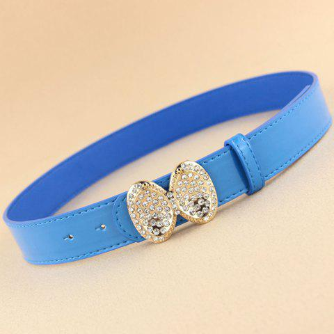 Sweet Cute Bowknot Rhinestone Decorated Candy Color Waist Belt For Women - COLOR ASSORTED