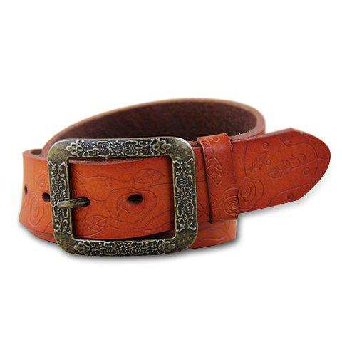 Retro Chic Flower Pattern Decorated Buckle Waist Belt For Women - COLOR ASSORTED