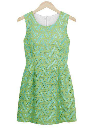 Trendy Style Scoop Collar Sleeveless Embroidery Slimming Women's Sundress - GREEN M