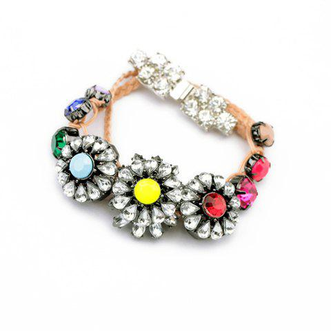 Flower Pattern Rhinestone Decorated Bracelet - COLOR ASSORTED