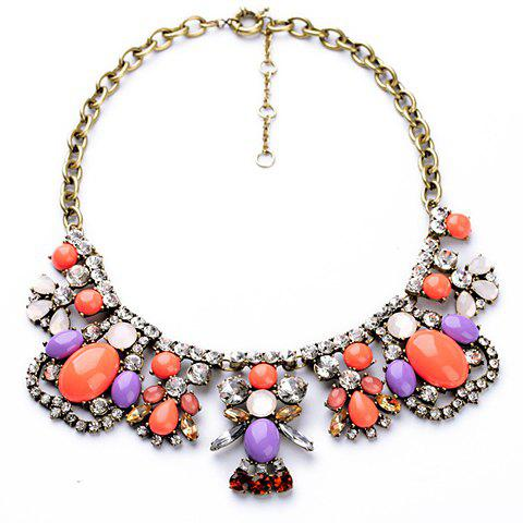 Unique Multicolor Faux Gem Decorated Irregular Pendant Necklace For Women - AS THE PICTURE