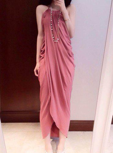Stylish Sleeveless Halter Neck Furcal And Ruffles Design Women's Dress - PINK ONE SIZE