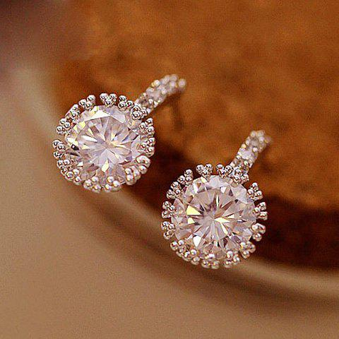 Pair of Rhinestone Stud Earrings - SILVER