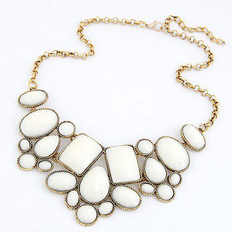 Geometric Fake Gemstone Necklace - WHITE