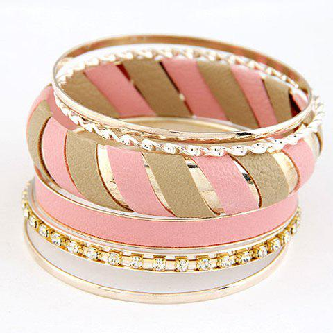 6 PCS Stylish Chic Rhinestone Decorated Bracelets For Women