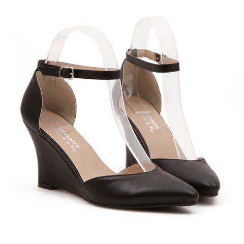 simple pointed toe and belt design wedge shoes for