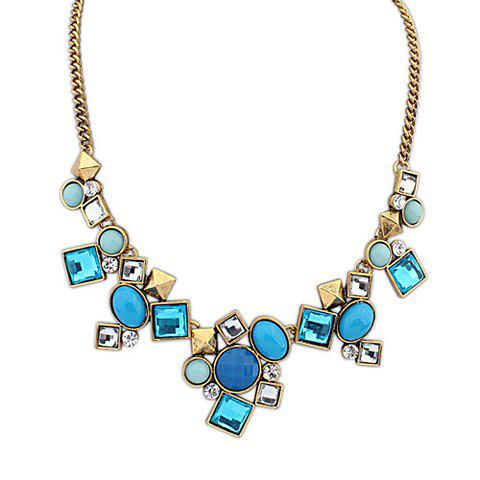 Chic Retro Colored Rhinestone Decorated Necklace For Women - BLUE