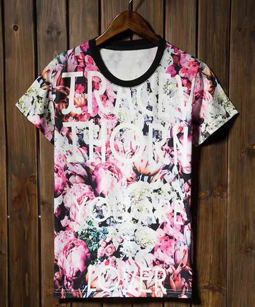 Fashionable Style Short Sleeve Round Neck Floral Print Cotton Men's T-Shirt - RED/WHITE 2XL