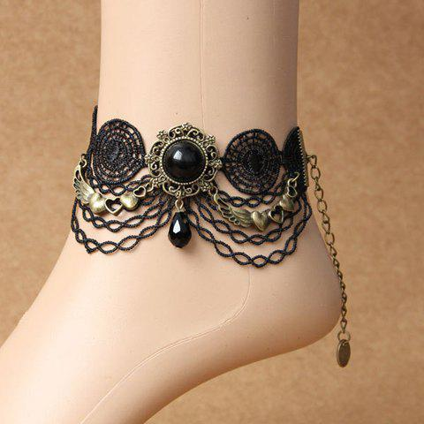 Retro Chic Beads Lace Link Tassel Anklet For Women - BLACK