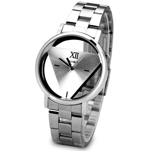 Superb Quartz Watch with Triangle Design Analog Indicate and Steel Strap Watchband for Women - SILVER