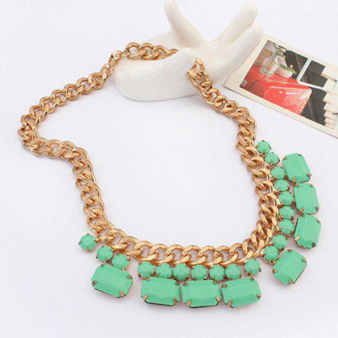 Stylish Chic Square Rhinestone Pendant Solid Color Necklace For Women - LIGHT GREEN