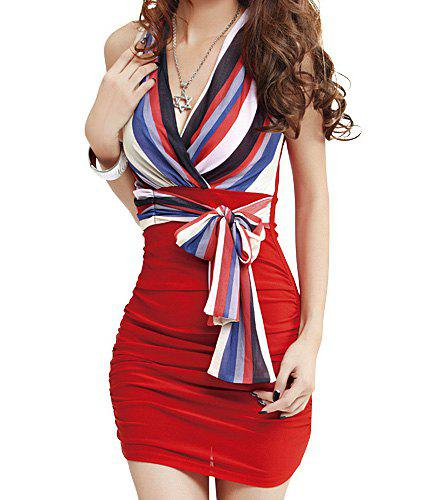 Sexy V-Neck Striped Self-Tie Sleeveless Bodycon Dress For Women - RED ONE SIZE