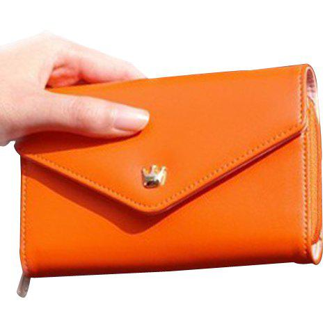 Sweet Solid Color and Crown Design Clutch Wallet For Women