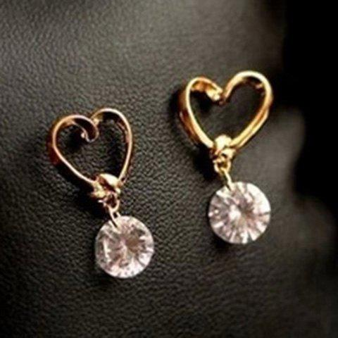 Fake Crystal Heart Drop Earrings - AS THE PICTURE