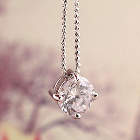 Stylish Chic Rhinestone Pendant Necklace For Women - SILVER