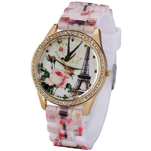 Popular Quartz Watch with Analog Indicate Diamonds Tower Flowers Silicone Watch Band for Women -