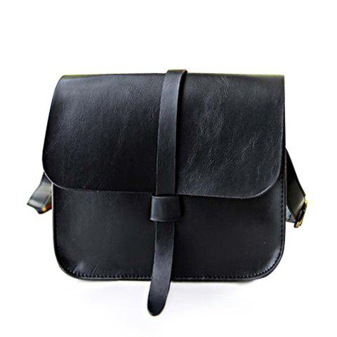 Vintage Style Solid Color and PU Leather Design Crossbody Bag For Women - BLACK
