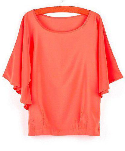 Solid Color Scoop Collar Bat-Wing Sleeves Fashionable Women's Blouse - JACINTH L