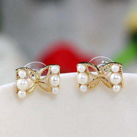 Pair of Sweet Cute Pearl Openwork Bowknot Earrings For Women - GOLDEN