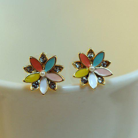 Pair of Sweet Chic Rhinestone Color Glazed Flower Earrings For Women - COLORFUL