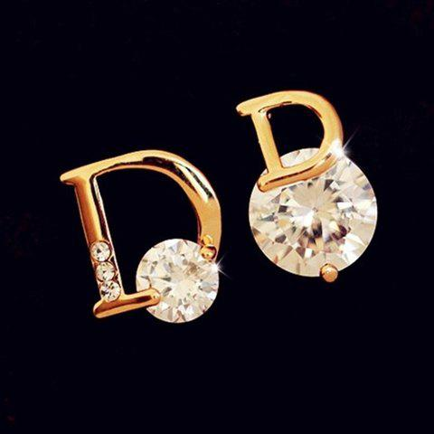 Pair of D Letter Rhinestone Stud Earrings - GOLDEN