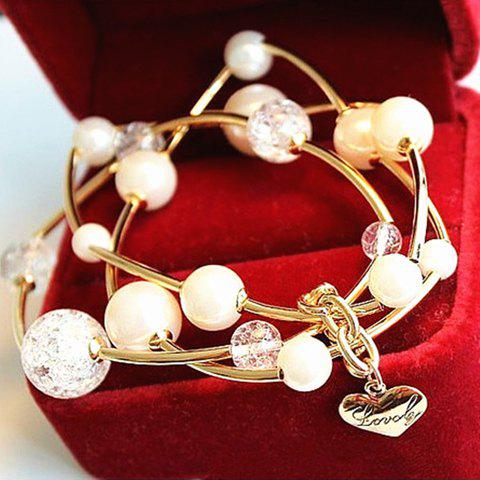 Sweet Layered Beads Heart Pendant Bracelet For Women - AS THE PICTURE