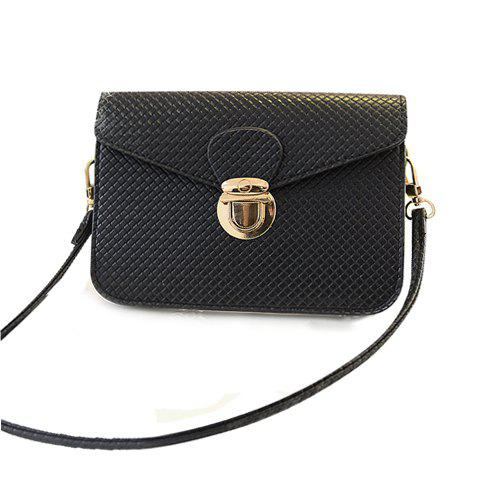 Push Lock Weaving Crossbody Bag - BLACK