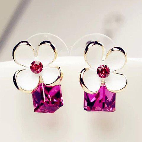 Pair of Cube Flower Rhinestone Earrings - AS THE PICTURE