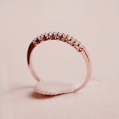 Chic Rhinestone Solid Color Ring For Women - ONE SIZE SILVER