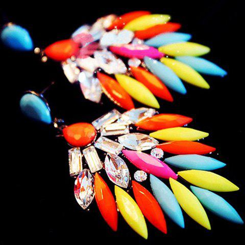 Pair of Sweet Cute Rhinestone Colored Feather Earrings For Women - COLOR ASSORTED