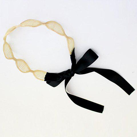 Chic Stylish Lace Up Double Color Hairband For Women - GOLDEN