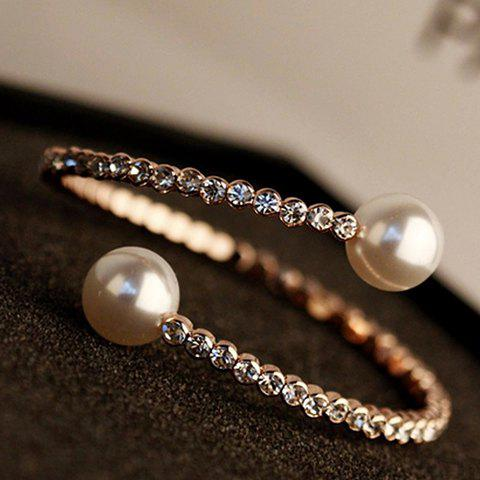 Simple Pearl Rhinestone Solid Color Bracelet For Women