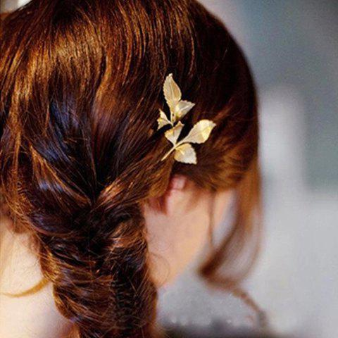 Retro Chic Leaf Shape Solid Color Hairpin For Women