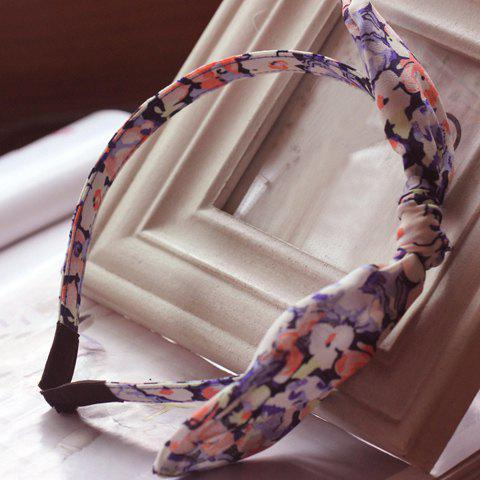 Delicate Sweet Rabbit Ear Floral Striped Hairband For Women - RANDOM COLOR PATTERN