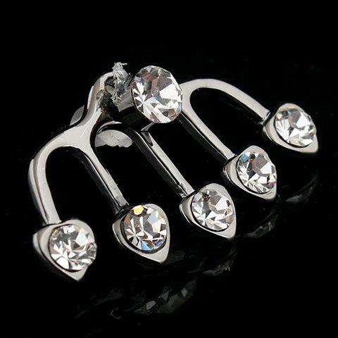 12 Pieces of Sweet Cute Rhinestone Heart Shape Earrings For Women