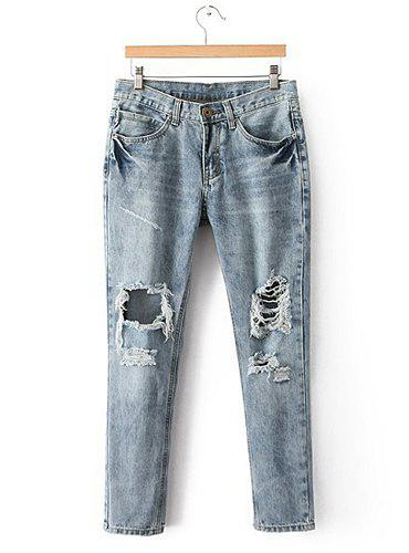 Broken Hole Bleach Wash Low Waisted Narrow Feet Stylish Women's Jeans - BLUE GRAY M