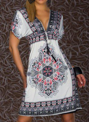 Bohemian Short Sleeve Plunging Neck Printed Women's Dress