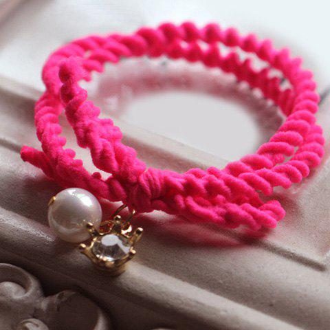 Sweet Cute Pearl Solid Color Elastic Hair Band For Women